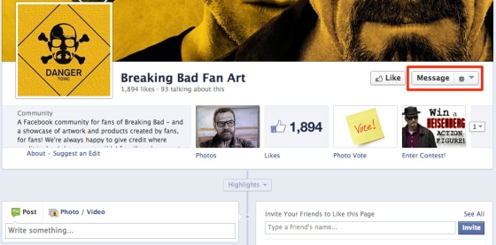 fan page message button