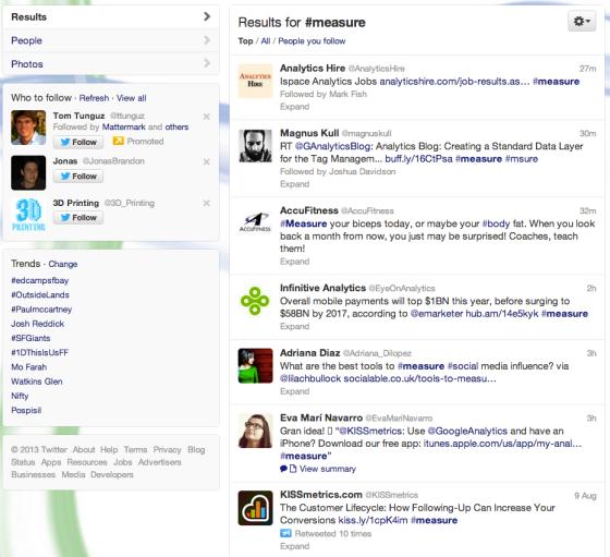 Measure hashtag screenshot