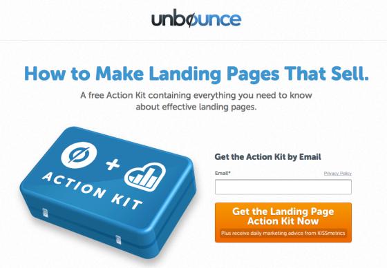 unbounce kissmetrics landing page deal